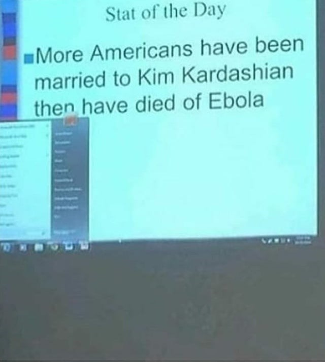 Text - Stat of the Day More Americans have been married to Kim Kardashian then have died of Ebola