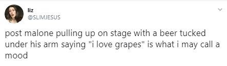 """Text - liz @SLIMJESUS post malone pulling up on stage with a beer tucked under his arm saying """"i love grapes"""" is what i may call a mood"""