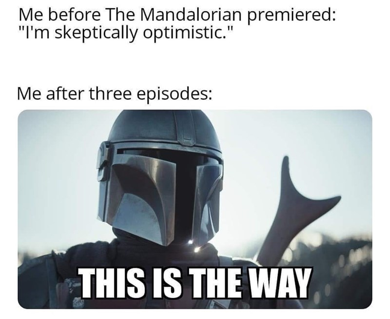 "Helmet - Me before The Mandalorian premiered: ""I'm skeptically optimistic."" Me after three episodes: THIS IS THE WAY"