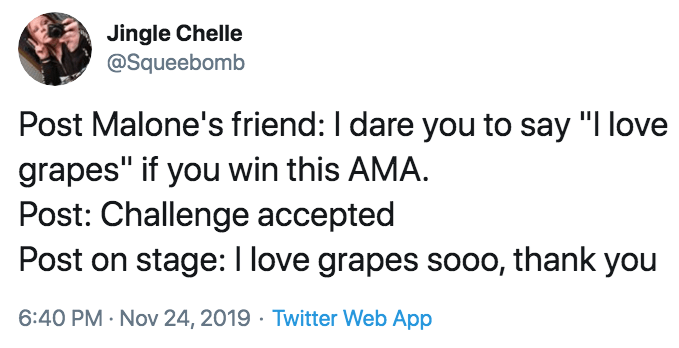 """Text - Jingle Chelle @Squeebomb Post Malone's friend: I dare you to say """"