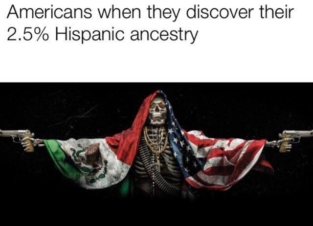 Text - Americans when they discover their 2.5% Hispanic ancestry