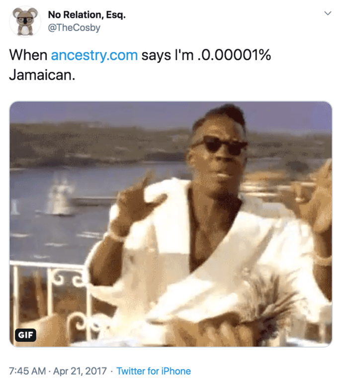 Adaptation - No Relation, Esq @TheCosby When ancestry.com says I'm .0.00001% Jamaican GIF 7:45 AM- Apr 21, 2017 Twitter for iPhone
