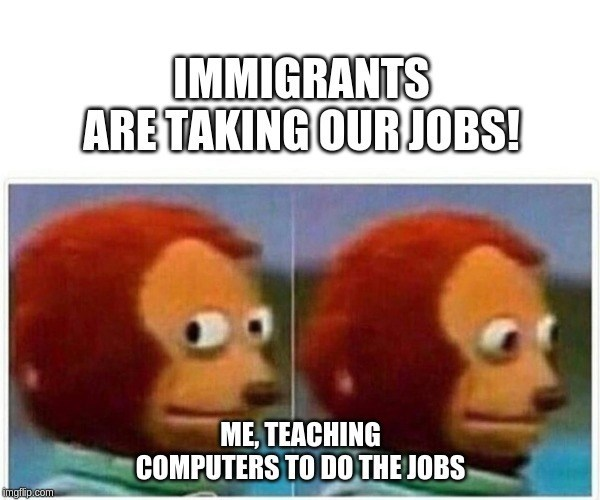 Face - IMMIGRANTS ARETAKING OUR JOBS! ME, TEACHING COMPUTERS TO DO THE JOBS imgfip.com