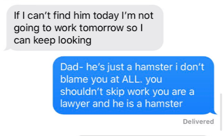 Text - If I can't find him today I'm not going to work tomorrow so I can keep looking Dad-he's just a hamster i don't blame you at ALL. you shouldn't skip work you are lawyer and he is a hamster Delivered