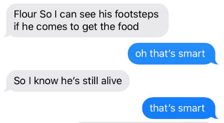 Text - Flour So I can see his footsteps if he comes to get the food oh that's smart So I know he's still alive that's smart