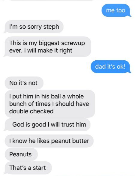 Text - me too I'm so sorry steph This is my biggest screwup ever. I will make it right dad it's ok! No it's not I put him in his ball a whole bunch of times I should have double checked God is good I will trust him I know he likes peanut butter Peanuts That's a start