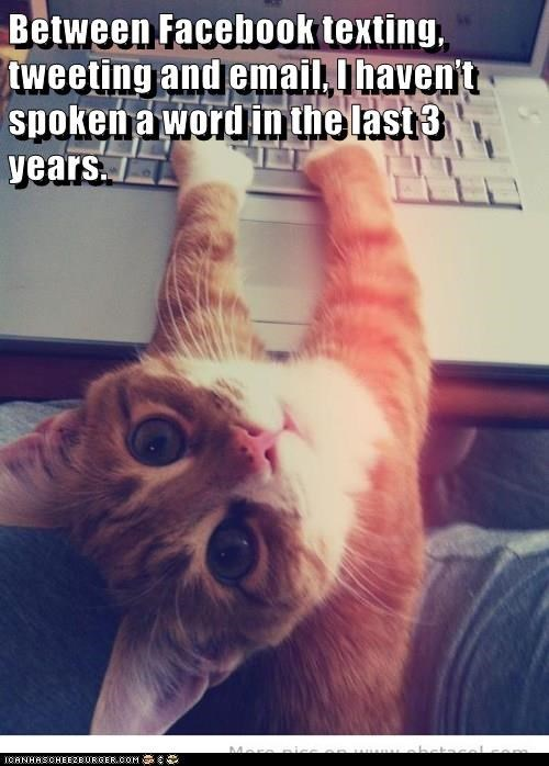 Cat - Between Facebook texting, weeting and email, T haven't spokena word in the last 3 years Mor C6NHASCHEE2EURGER cOM
