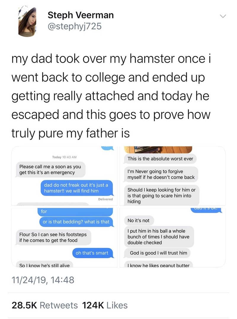 Text - Steph Veerman @stephyj725 dad took over my hamster once i my went back to college and ended up getting really attached and today he escaped and this goes to prove how truly pure my father is Today 10:43 AM This is the absolute worst ever Please call me a soon as you get this it's an emergency I'm Never going to forgive myself if he doesn't come back dad do not freak out it's just a Should I keep looking for him or is that going to scare him into hiding hamster!! we will find him Delivered
