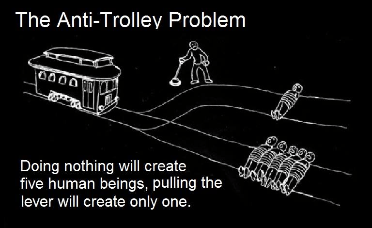 Transport - The Anti-Trolley Problem Doing nothing will create five human beings, pulling the lever will create only one.