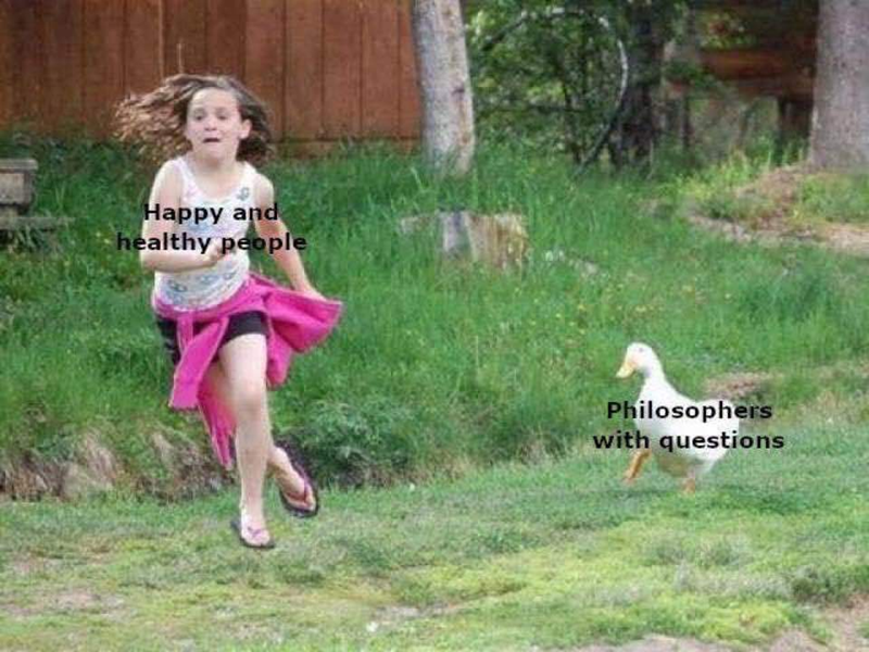 Pink - Happy and healthy people Philosophers with questions