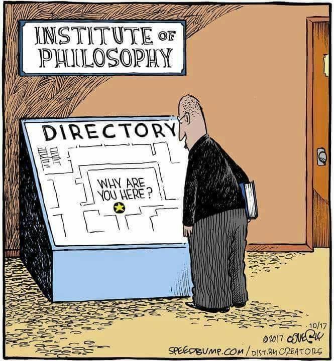 Cartoon - INSTITUTE PHILOSOPHY OF DIRECTORY WHY ARE YOU HERE? 10/17 SPEEDBUMP.COM/DIST BM CREATORS