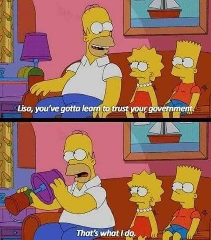 Cartoon - Lisa, you've gotta learn to trust your government That's what I do