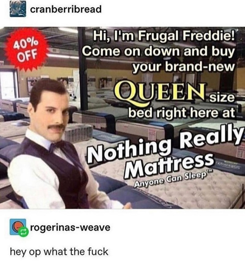 Font - cranberribread Hi, I'm Frugal Freddie! Come on down and buy 40% OFF your brand-new QUEEN size bed right here at Nothing Really Mattress Anyone Can Sleep rogerinas-weave hey op what the fuck