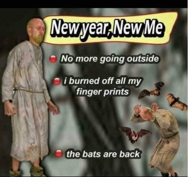 Photo caption - Newyear,New Me No more going outside i burned off all my finger prints the bats are back