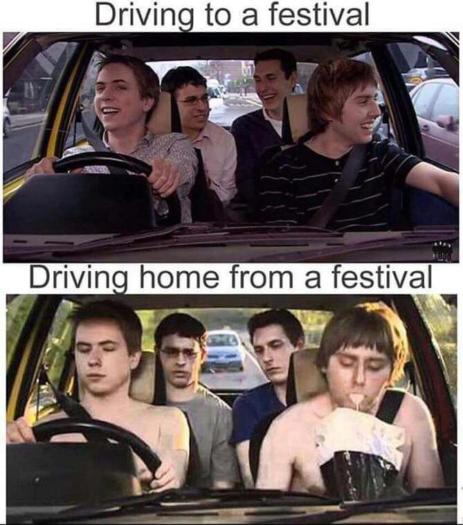Motor vehicle - Driving to a festival Driving home from a festival