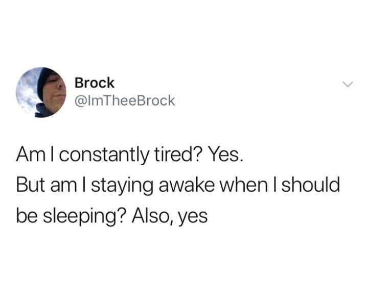 Text - Brock @lmTheeBrock Ami constantly tired? Yes. But am I staying awake when I should be sleeping? Also, yes