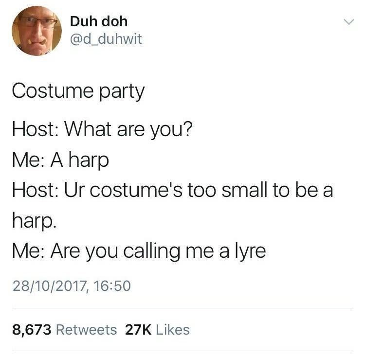 Text - Duh doh @d_duhwit Costume party Host: What are you? Me: A harp Host: Ur costume's too small to be a harp. Me: Are you calling me a lyre 28/10/2017, 16:50 8,673 Retweets 27K Likes