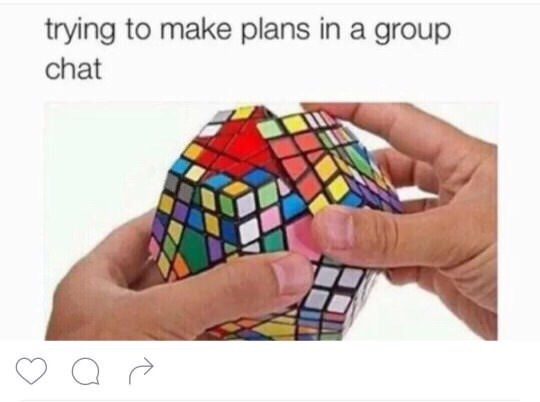 Rubik's cube - trying to make plans in a group chat