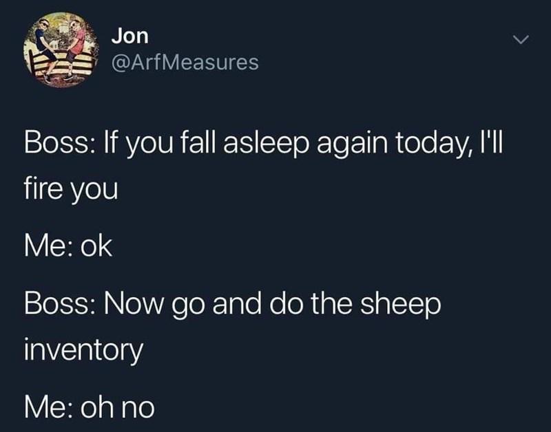 Text - Jon @ArfMeasures Boss: If you fall asleep again today, I'l fire you Мe: ok Boss: Now go and do the sheep inventory Мe: oh no
