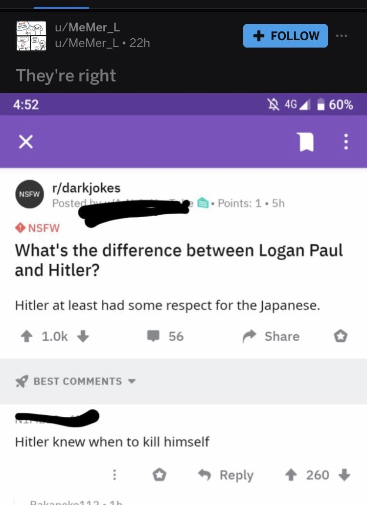 Text - u/MeMer_L + FOLLOW u/MeMer_L 22h They're right 4G 60% 4:52 r/darkjokes Posted by NSFW Points: 1.5h NSFW What's the difference between Logan Paul and Hitler? Hitler at least had some respect for the Japanese. 1.0k Share 56 BEST COMMENTS Hitler knew when to kill himself Reply 260 Dalkano 1b