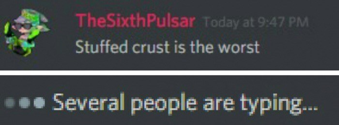 "Funny meme where someone says in a comment that ""stuffed crust is the worst"" and below several people are typing at once"