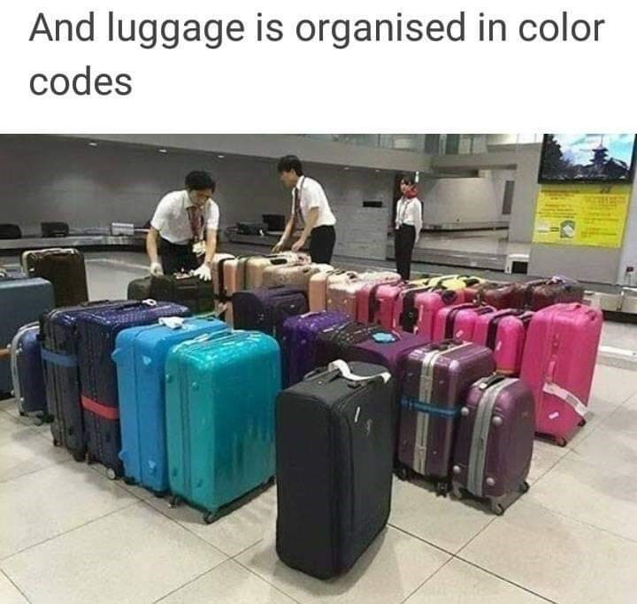 Suitcase - And luggage is organised in color codes