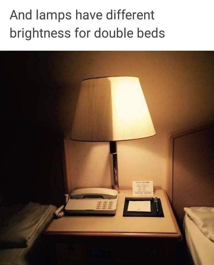 Lampshade - And lamps have different brightness for double beds
