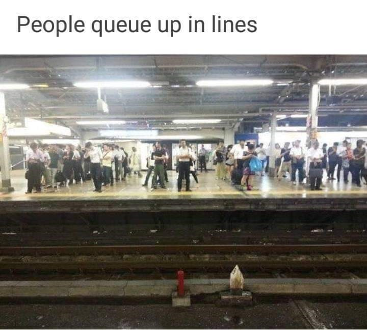 Sky - People queue up in lines