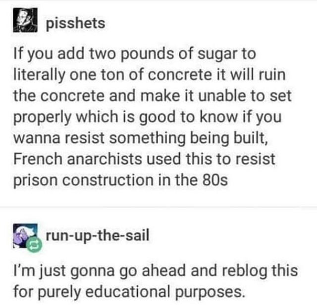 Text - pisshets If you add two pounds of sugar to literally one ton of concrete it will ruin the concrete and make it unable to set properly which is good to know if you wanna resist something being built, French anarchists used this to resist prison construction in the 80s run-up-the-sail I'm just gonna go ahead and reblog this for purely educational purposes.