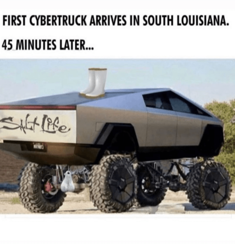Funny meme about stereotypes, cybertruck, funny meme, louisiana