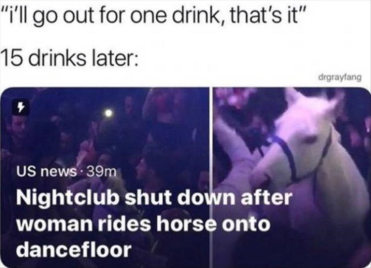 "Violet - ""i'l go out for one drink, that's it"" 15 drinks later: drgrayfang US news 39m Nightclub shut down after woman rides horse onto dancefloor"