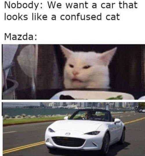 Vehicle - Nobody: We want a car that looks like a confused cat Mazda: