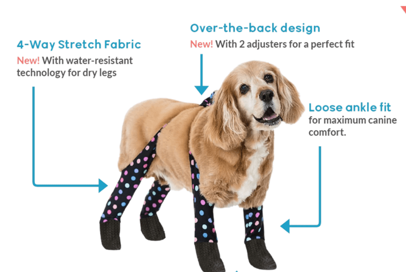 Dog - Over-the-back design New! With 2 adjusters for a perfect fit 4-Way Stretch Fabric New! With water-resistant technology for dry legs Loose ankle fit for maximum canine comfort.