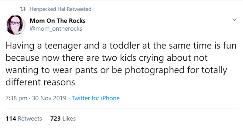 Text - t Henpecked Hal Retweeted Mom On The Rocks @mom_ontherocks Having a teenager and a toddler at the same time is fun because now there are two kids crying about not wanting to wear pants or be photographed for totally different reasons Twitter for iPhone 7:38 pm 30 Nov 2019 723 Likes 114 Retweets