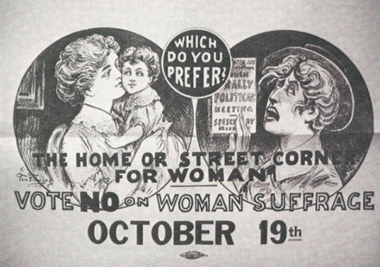 Text - WHICH DO YOU PREFER FOLITICAL ETING SPESC BY THE HOME OR STREETCORN FOR WOMAN VOTENON WOMAN SUFFRAGE OCTOBER 19t