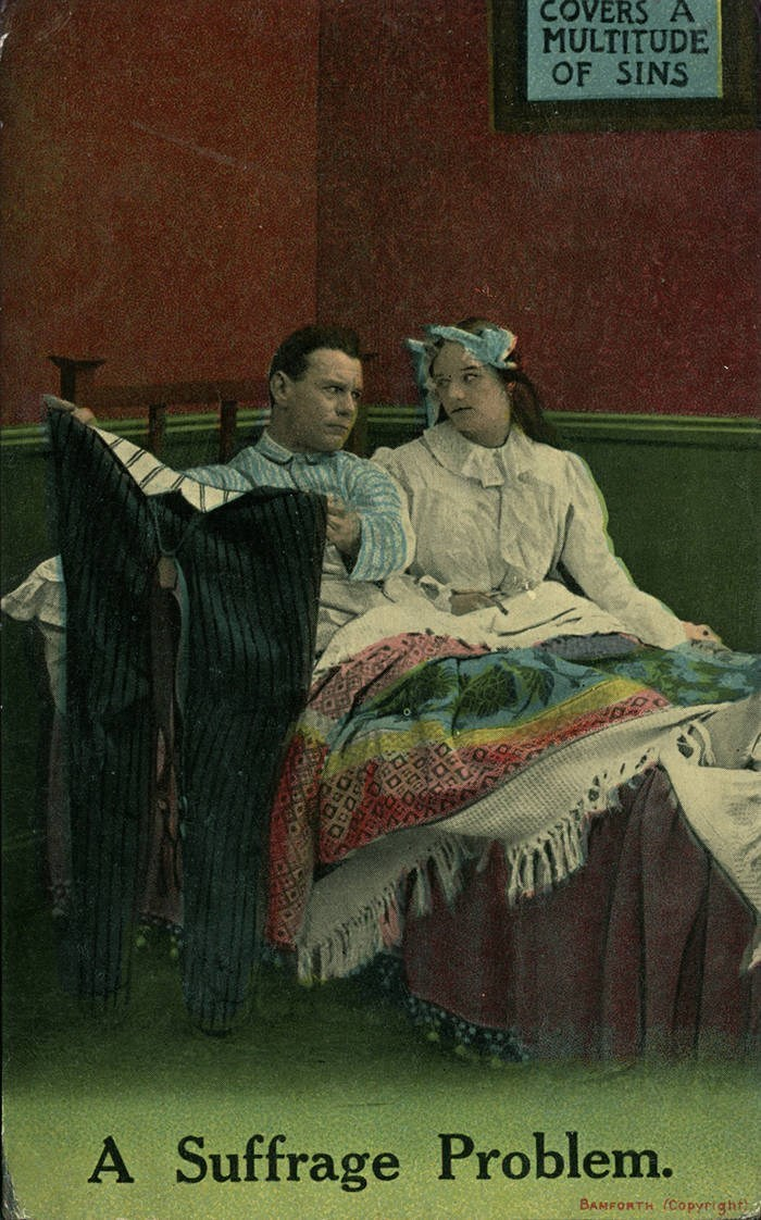 Vintage clothing - COVERS A MULTITUDE OF SINS A Suffrage Problem. BANFORTH (Copyrtght