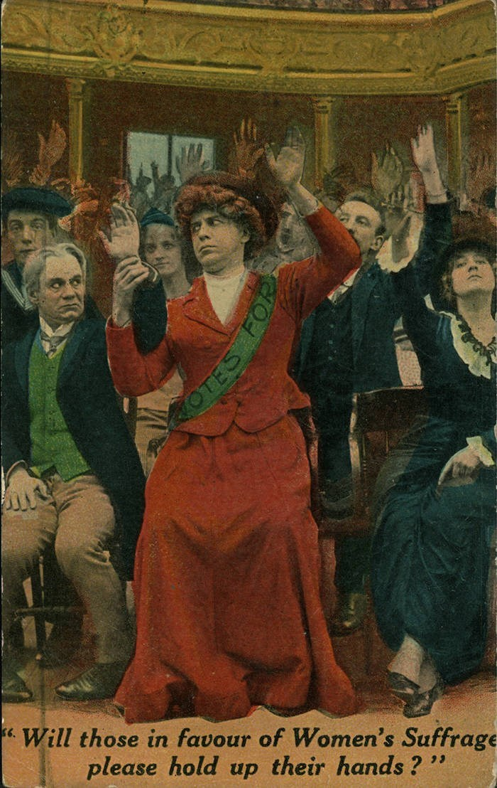Poster - Will those in favour of Women's Suffrage please hold up their hands ? OTES FO