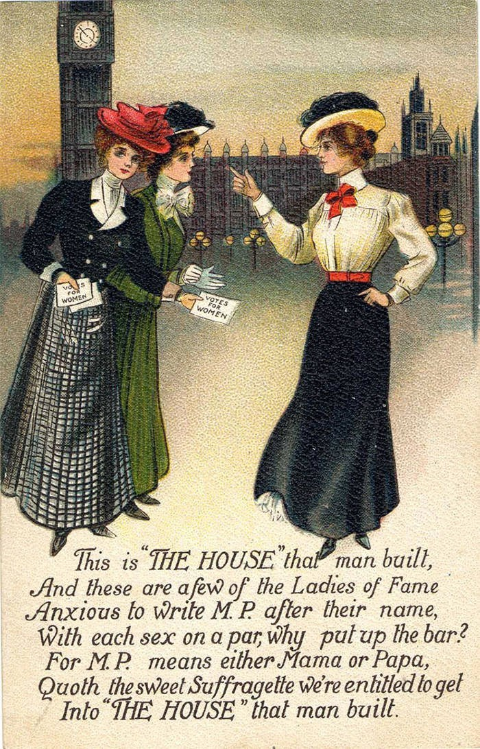 """Vintage clothing - v fo WOMEN FRS WOMEN This is THE HOUSE thal man buill, And these are afew of the Ladies of Fame Anxious to Write M. P after their name, With each sex on a par, why pul up lhe bar2 For MP means either Mama or Papa, Quoth the sweet Suffragette we're enlitled to gel Into THE HOUSE """"that man built"""