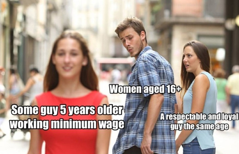 People - Women aged 16 Some guy 5 years older Working minimum wage Arespectable and loyal guy the same age