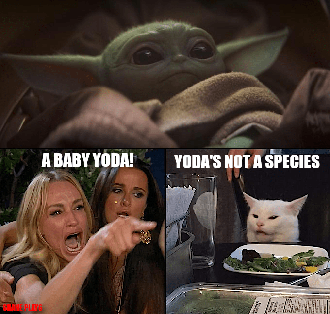 meme - Yoda - A BABY YODA! YODA'S NOT A SPECIES ANE PLAYS