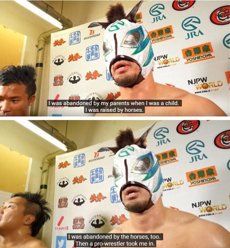 meme - Face - JRA BUSHIROAD YOSHINOYA JRA UPW WORLD croje YOSHINOYA Iwas abandoned by my parents when I was a child. NJPW WORLD Iwas raised by horses. JRA BUSHIRDAD SKOUHS JRA BU PW WORLD YOSHINOYA NJPW WORLD tv asahi I was abandoned by the horses, too. Then a pro-wrestler took me in.