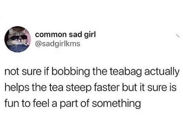 Text - common sad girl @sadgirlkms not sure if bobbing the teabag actually helps the tea steep faster but it sure is fun to feel a part of something