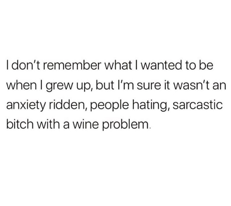 Text - I don't remember what I wanted to be when I grew up, but I'm sure it wasn't an anxiety ridden, people hating, sarcastic bitch with a wine problem.