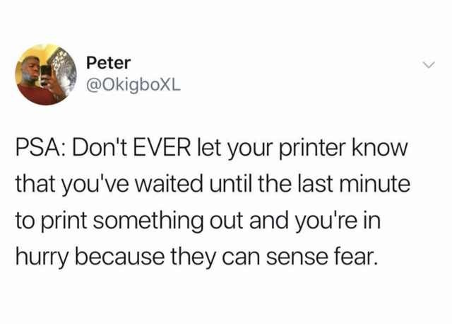 Text - Peter @OkigboXL PSA: Don't EVER let your printer know that you've waited until the last minute to print something out and you're in hurry because they can sense fear.