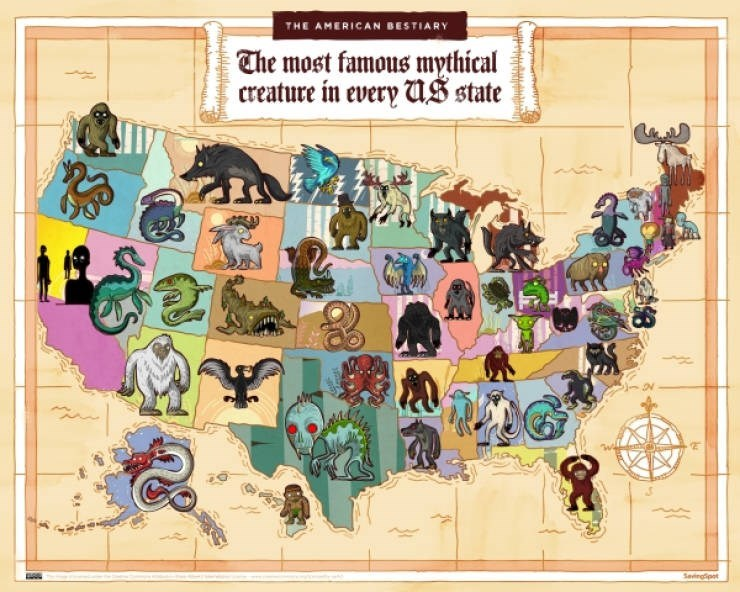 Cartoon - THE AMERICAN BESTIARY Che most famous mythical creature in every US state Seviegp