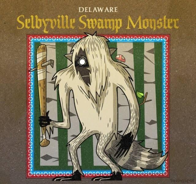 Cartoon - DELAWARE Selbyville Swamp Monster OIO:O:O0:0:0:0 0:0:0:0:0:o o:o:o: o:O:0:0:o:0 0:0:0:0:0:0:o:0:0:0:0:0:0:0:0:0:0:o:0