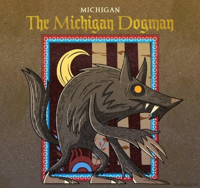 Cartoon - MICHIGAN The Michigan Dogman O:o:o:O:0:0:0:0:0:o:o:o:0:0:O aungipot O:o:0:0:0:0: O:O:O:0