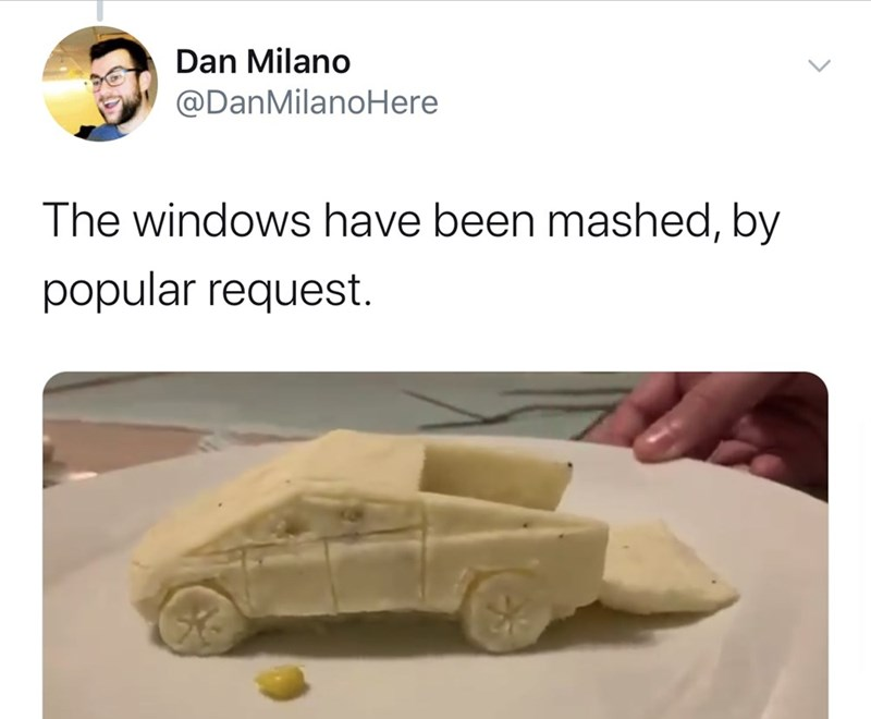 Motor vehicle - Dan Milano @DanMilanoHere The windows have been mashed, by popular request