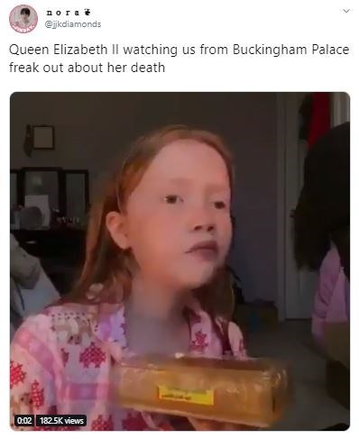 Child - nora @jkdiamonds Queen Elizabeth Il watching us from Buckingham Palace freak out about her death 0:02 1825K views