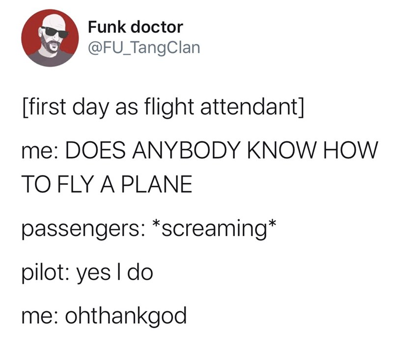 Text - Funk doctor @FU_TangClan [first day as flight attendant] me: DOES ANYBODY KNOW HOW TO FLY A PLANE passengers: *screaming* pilot: yes I do me: ohthankgod